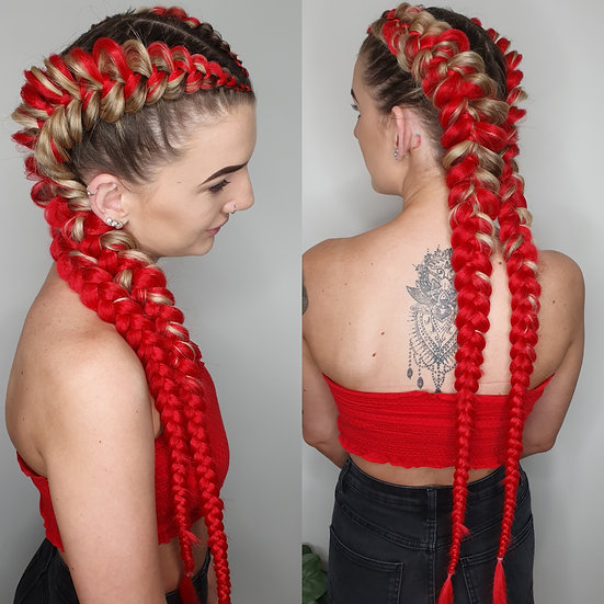 Red Synthetic Braiding Extensions