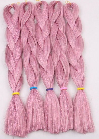 Light Pink Tinsel Braiding Extensions