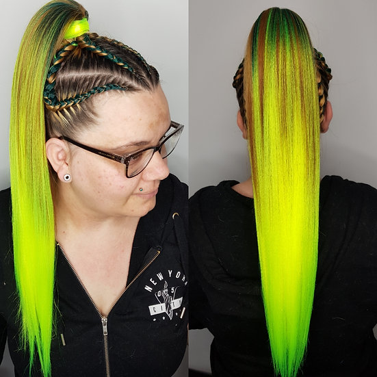 Neon Army Green Ombre Braiding Extensions