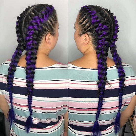 Purple to Deep Blue Ombre Braiding Extensions