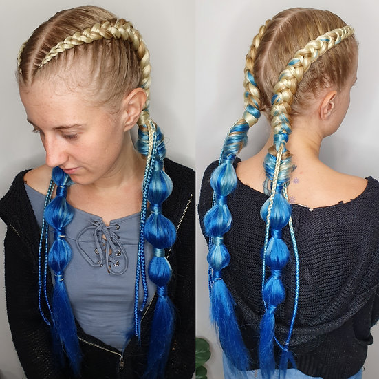 White Blonde to Mixed Blue Ombre Braiding Extensions