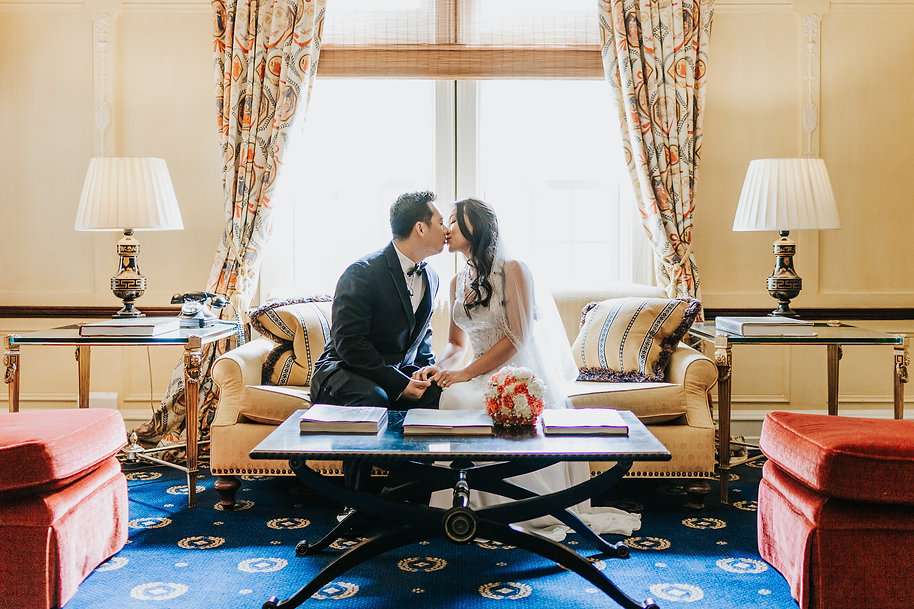 Asian Bride and Groom kissing - Columbus Ohio Wedding Photography