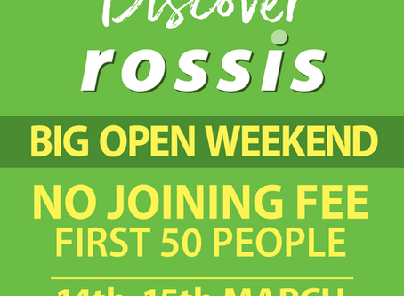 Save the date – Rossis BIG Open Weekend - 14th & 15th March