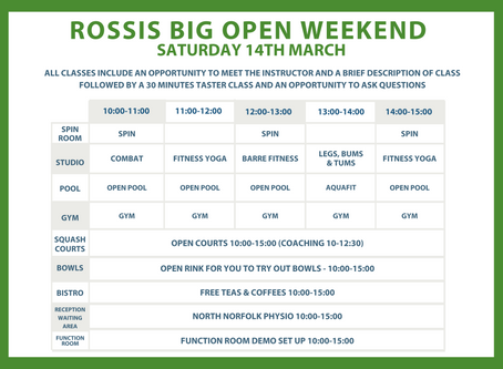 Rossis BIG OPEN WEEKEND 14th - 15th March - Here's what's going on.
