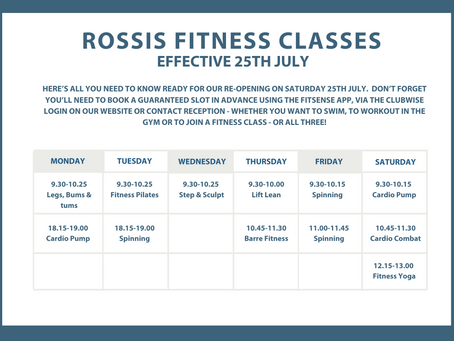 NEW TIMETABLE - EFFECTIVE JULY 25th 2020