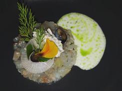 Seabass, shrimps, blueberry, buttermilk, parsley oil