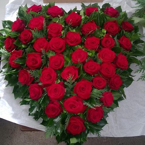 hjerte røde roser,