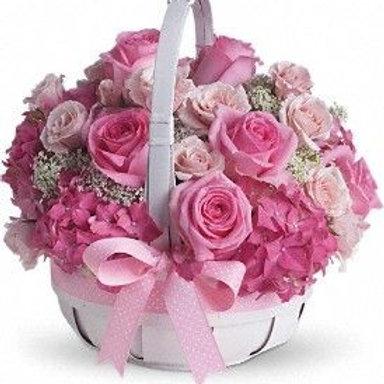 lyserød kurv dekoration