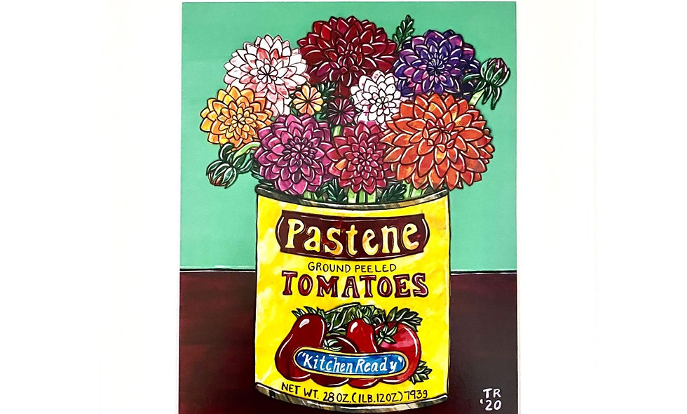 Pastene Tomato Can with Flowers