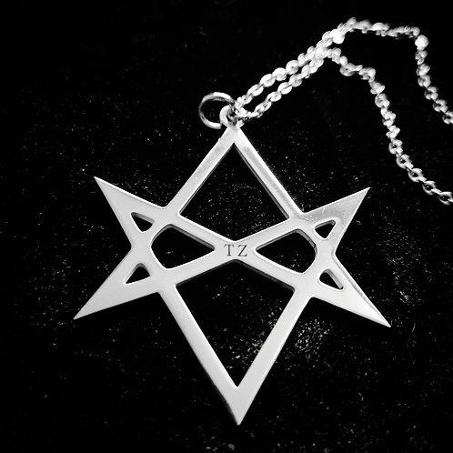 "Stainless steel pendant Unikursales Hexagramm"" incl. Chain"