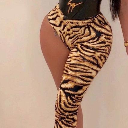 Irregular Leopard shoulder sexy jumpsuit