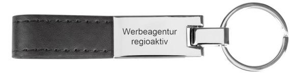 Ultrahyde und Metall Versilberter Schlüsselanhänger in einer schwarzen Geschenkbox.