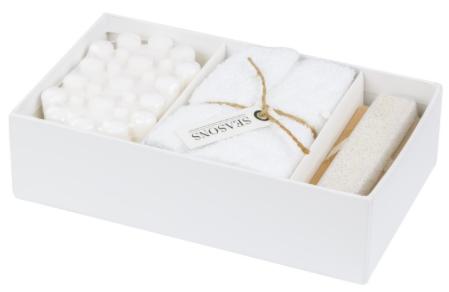 Aus Baumwolle und Holz. Weiches Baumwollhandtuch (30 x 30 cm), Nagelbürste aus Holz mit Bimsstein, 80 g Massageseife mit dem Duft weicher, weißer Baumwolle und 2 Nagelhautschieber aus Naturholz. In einer Seasons™-Geschenkbox.