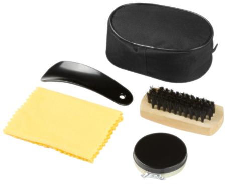 Etui aus Polyester 70D. Schwarze Schuhcreme, Schuhlöffel, Bürste und Reinigungstuch.