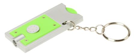 Kunststoffmünze in 1-Euro-Größe mit Loch (Ø 6 mm) im Halter und Schlüssellicht mit einer weißen LED. An geteiltem Schlüsselring aus Metall mit Ø 25 mm. Batterien inbegriffen und eingelegt.