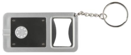 Polystyrol-Kunststoff Flaschenöffner aus Metall und geteilter Schlüsselring Eine weiße LED und Druckschalter auf der Rückseite 2 Knopfzellenbatterien erforderlich (inbegriffen)
