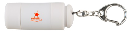 Aus ABS-Kunststoff mit weicher Beschichtung Wiederaufladbare Taschenlampe mit einer LED und Ein-/Aus-Schalter zum Drehen Geteilter Schüsselring aus Metall