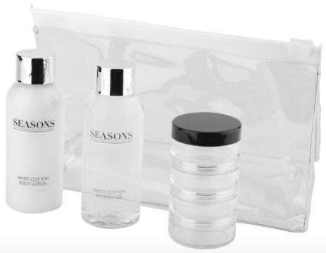 Je 50 ml Duschgel und Bodylotion mit dem dezenten Duft weißer Baumwolle 4-teilige Behälter für zusätzliche Flüssigkeiten Präsentiert in einem Geschenkbeutel