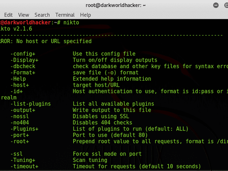 Website vulnerability scanner or Information Gathering  by using Nikto