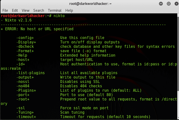 website vulnerability scanner by using Nikto on kali linux