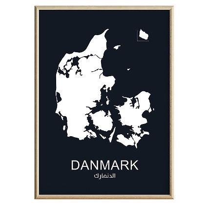 Danmark (Farvet) Plakat