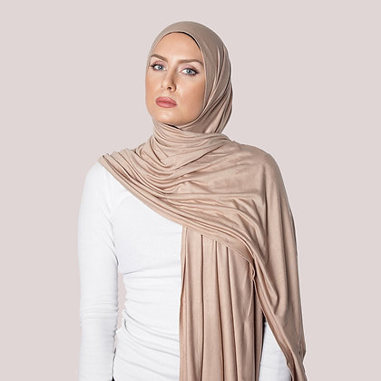 Warm Taupe Plain Jersey Sjal