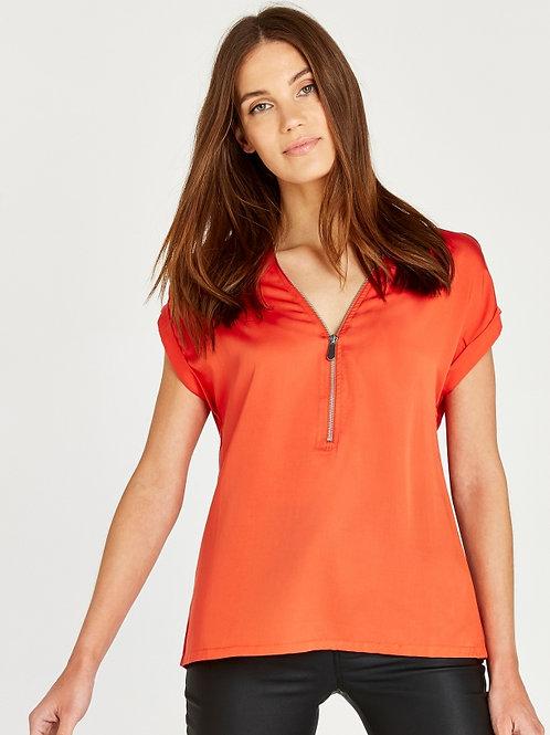 Blouse orange avec zip avant