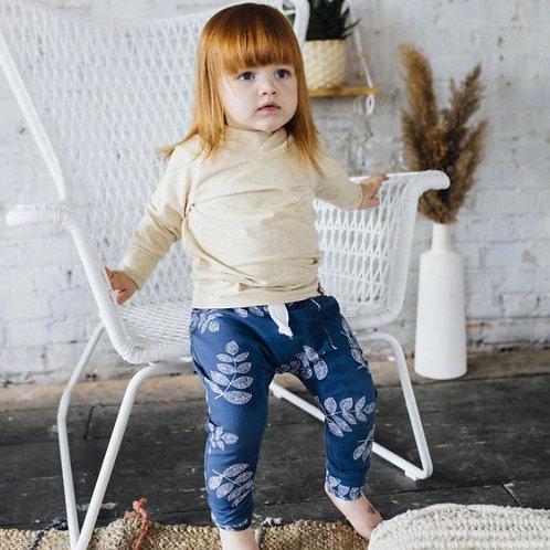 Pantalon évolutif feuilles bleues