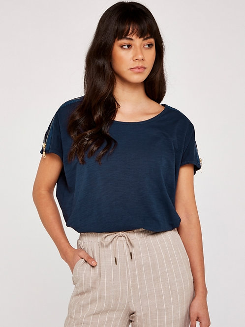 T-Shirt avec détail zip