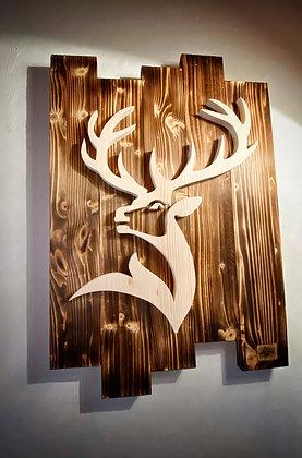 Tableau Cerf majestueux en bois brûlé