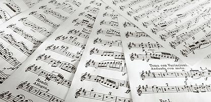 Sheet music fanned out