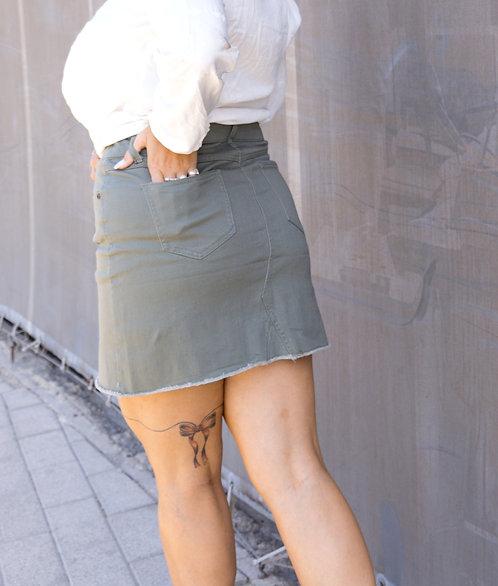 חצאית ג'ינס אוליב מיני