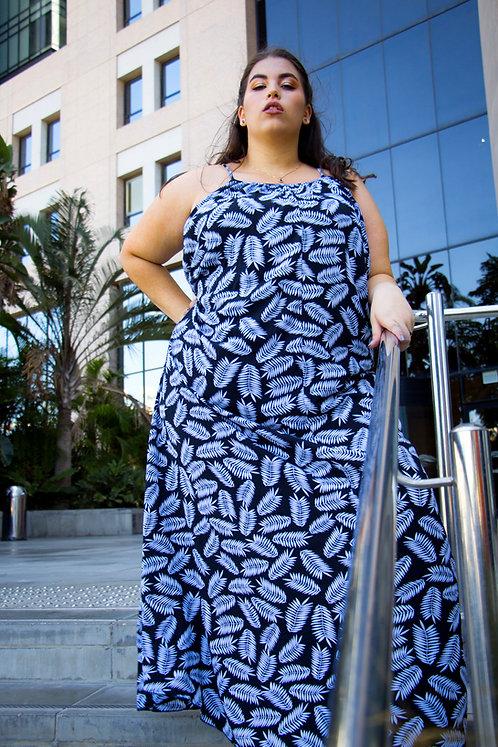 שמלת מקסי ליף פרינט