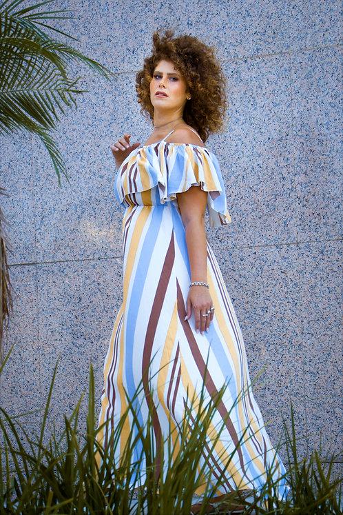 שמלת חול מקסי כתפייה-אוף שולדרס