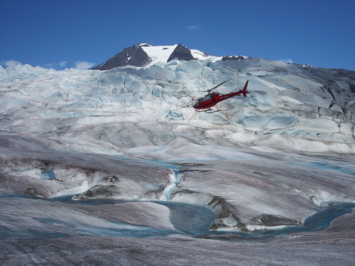 Helicopter landing on Glacier