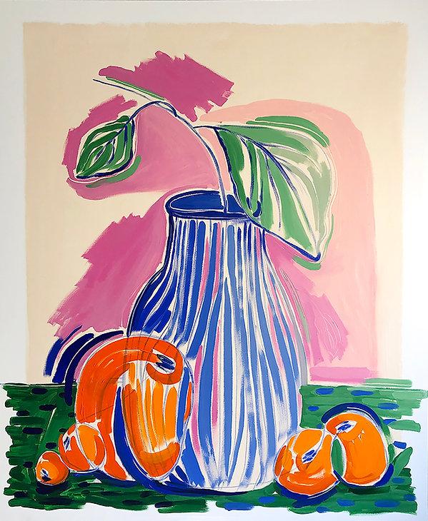 Florero Azul y Mandarinas