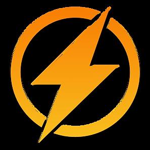 lightning flat icon orange with shadow.p