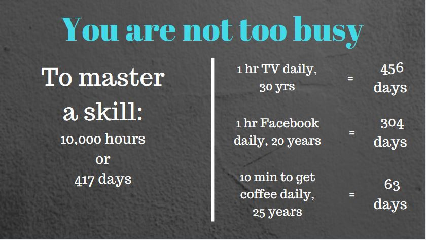 You are not too busy to master a skill; comparison
