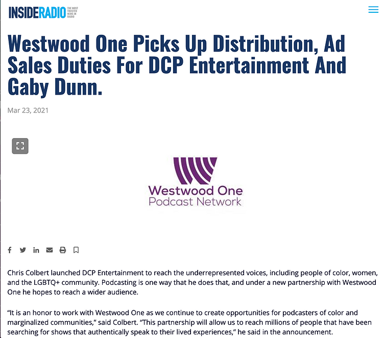 Westwood One & DCP Partnership