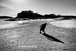Sort hvitt foto; mann ved sjøen