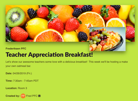 Teacher Appreciation Breakfast is April 26