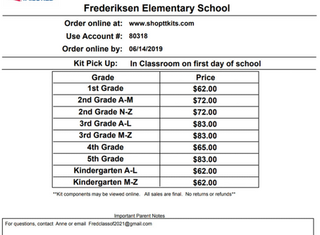 Order School Kits for Next Year Available Now Through June 14th!