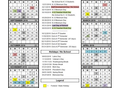 School Year Calendar for 2018-2019