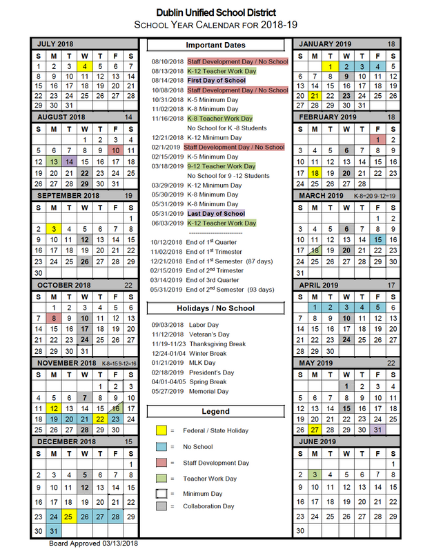 school year calendar for 2018 2019 frederiksen parent faculty club