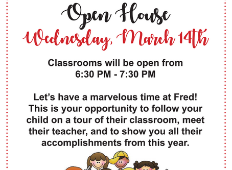Save the Date - Open House is on Wednesday, March 14th
