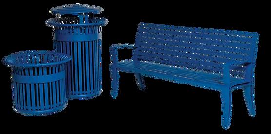 Modelo de bancas y basureros Dewart pana