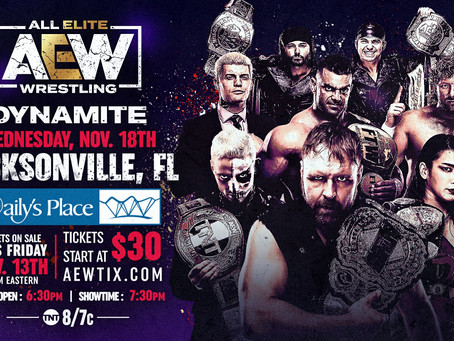 Tickets On Sale This Friday for AEW Dynamite: November 18th Episode Live in Jacksonville