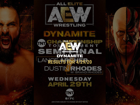 AEW DYNAMITE Results for April 29, 2020