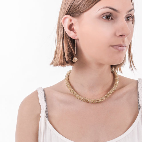 Citrine woven necklace
