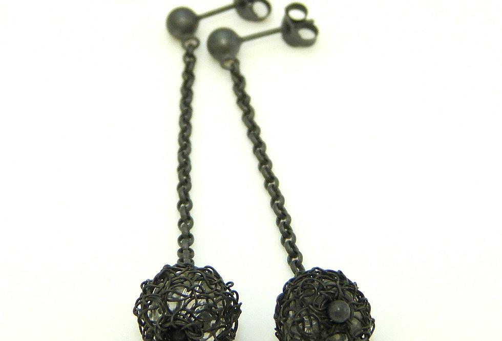 Oxidised globe dangling silver earrings